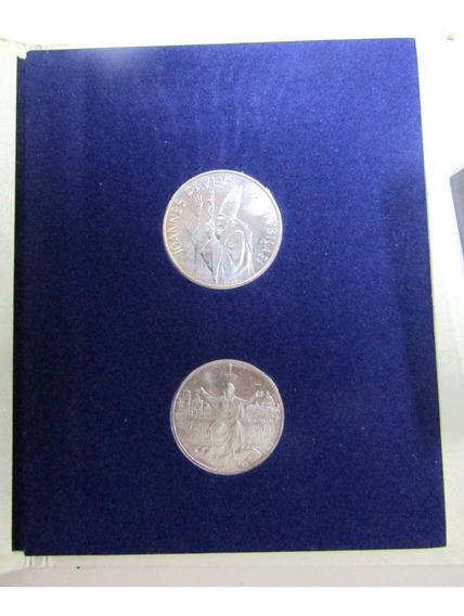 Vaticano Set 2 Liras Plata Año Santo 1983 - 84 J. P. Ii Unc