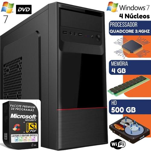 Computador Pc Quad Core 3.4ghz C/dvd 4gb Hd 500gb Windows 7