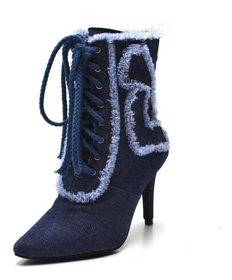 Bota Feminina Bico Fino Salto Agulha Lançamento Jeans