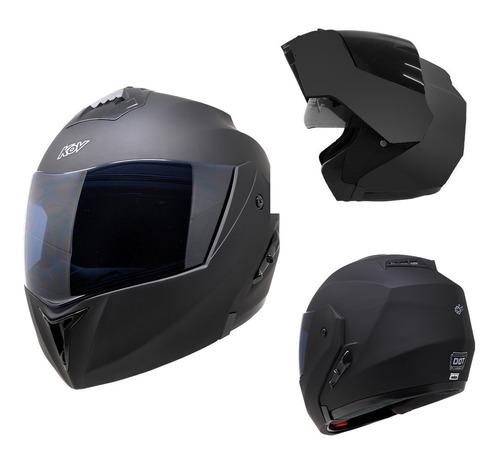 Imagen 1 de 7 de Casco Moto Abatible Kov Stealth Negro Mate Lente Interno Dot