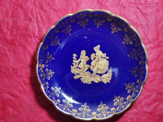 Plato Decorativo Porcelana Limonges Cobalto Oro