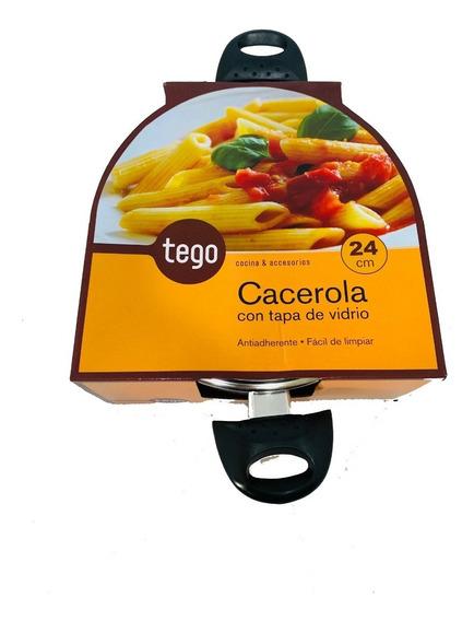 Cacerola Tego Con Tapa De Vidrio 24 Cm Antiadherente