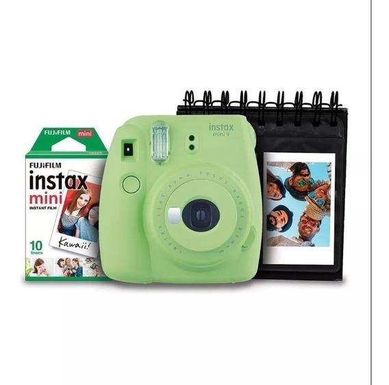 Kit Câmera Instantânea Instax Mini 9 Fujifilm Com Porta Fotos E Filme 10 Poses - Verde Lima Fujifilm