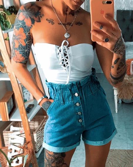Short De Jeans Tiro Alto Tendencia Dama Mujer Art 7065