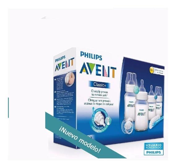 Set Recien Nacido Avent Classic ® 4 Mamaderas 1 Chupete Cepillo - Box Pack