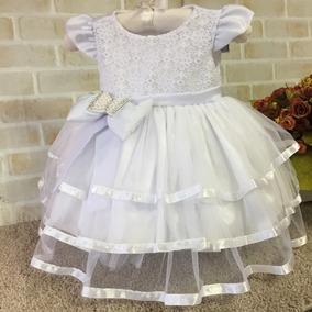 90ed4c0708 Vestido Branco Renda Batizado De Bebe - Calçados