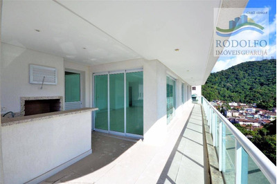 Guarujá Pitangueiras, Alto Padrão. 3 Dts, (3 Suites) Varanda Gourmet Vista Mar, Churras, Fitness, Sauna, Playground, 2 Vagas. - Ap0392
