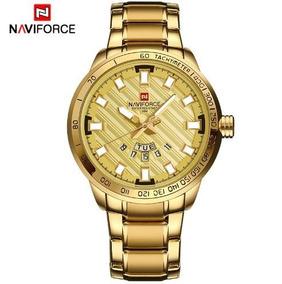 Relógio Dourado Masculino Promoção Original Naviforce Ouro