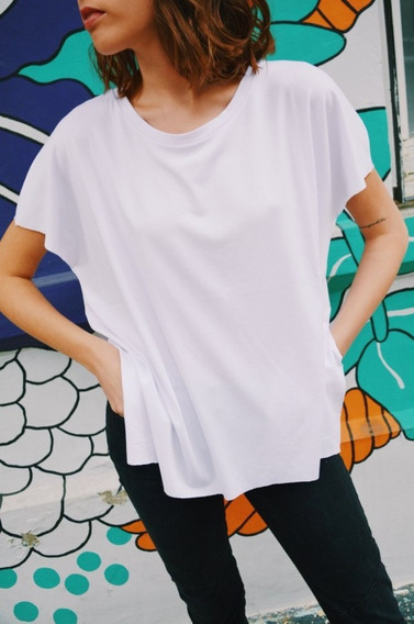Remera Manga Corta Blanca Basica Comoda Mujer