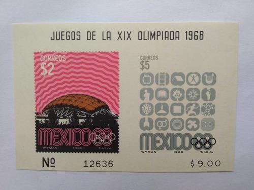 Imagen 1 de 1 de Hojilla Souvenir Xix Olimpiadas Mexico 1968 Palacio Simbolos