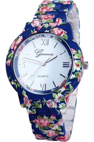 Relógio Feminino Geneva De Flor Pulseira Primavera + Frete