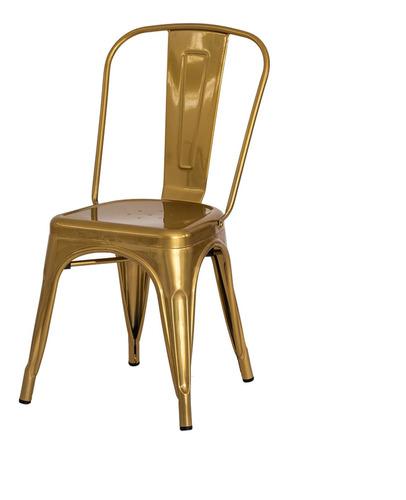 Imagem 1 de 3 de Cadeira Tolix Iron Design Chrome Gold