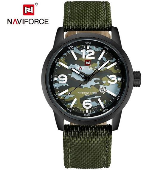 Relógio Pulso Naviforce Masculino Verde Militar Ou Camuflado