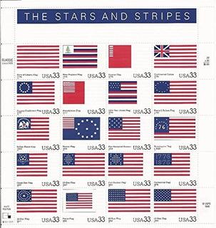 Estrellas Y Rayas Banderas Americanas Sello De Colección Ho
