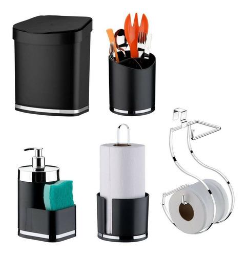 Imagem 1 de 11 de Kit Acessórios Para Cozinha E Banheiro 5 Peças