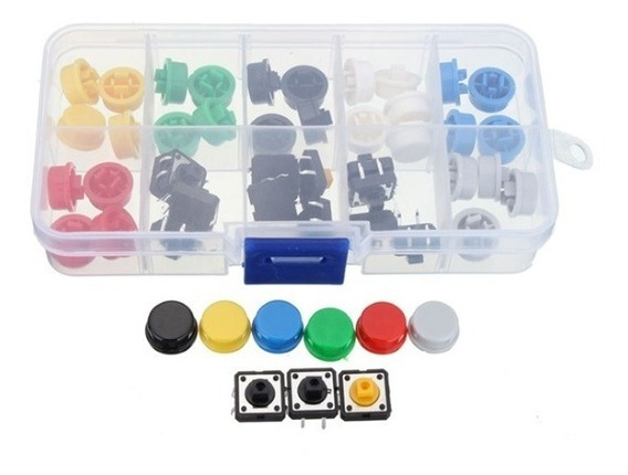 Kit 25 Push Button / Chave Táctil Com Capa Arduino