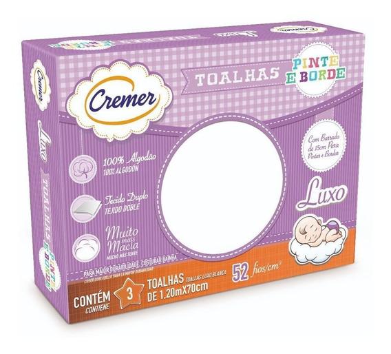 Kit C/ 12 Caixas De Toalha Fralda Pinte E Borde Cremer Branca Cx Com 3un