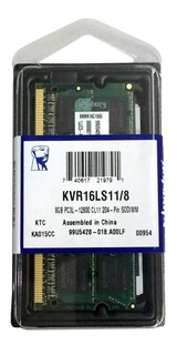 Memoria Ram Ddr3 8gb 1600mhz Kingston De Laptop Kvr16ls11/8