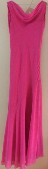 Vestido Importado Corte Sirena Clásico Color Fucsia Talle M