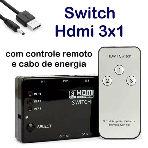 Hub Switch Hdmi 3 Portas Splitter Fullhd 3d Ps3 + Controle