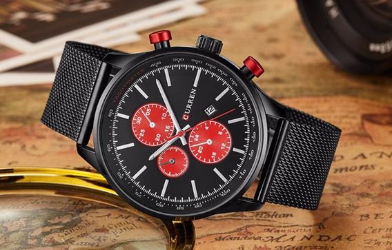Relógio Masculino Social Preto Aço Inoxidável Analogico Top