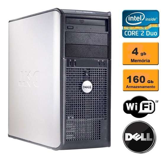 Cpu Dell Optiplex 330 Core 2 Duo 4gb 160gb Wi-fi Seminovo!