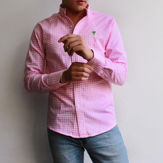 Camisa De Algodon Happy Cactus Para Hombre Cuadros Rosa
