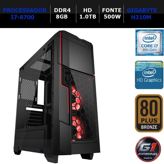 Computador Ntc Gamer Intel Core I7-8700, 8gb, Hd 1tb, 500w,