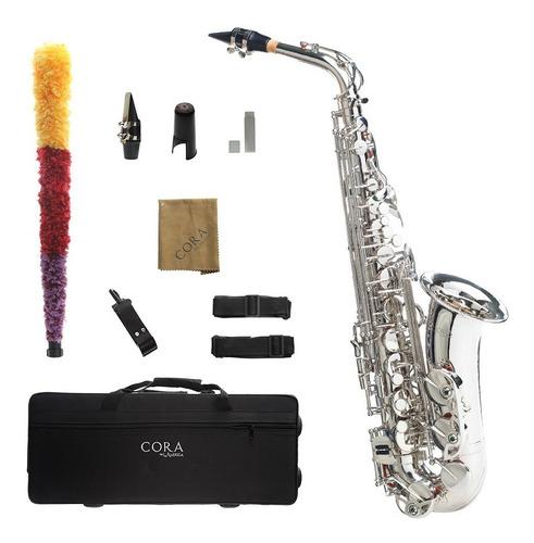 Imagen 1 de 7 de Saxofón Alto Plateado Cora By L. America + Accesorios