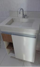 Armário Para Banheiro, Conjunto Com Cuba Em Porcelanato