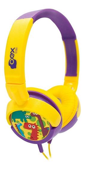 Headphone Fone Kids Criança Dino Amarelo E Roxo Hp300 - Oex
