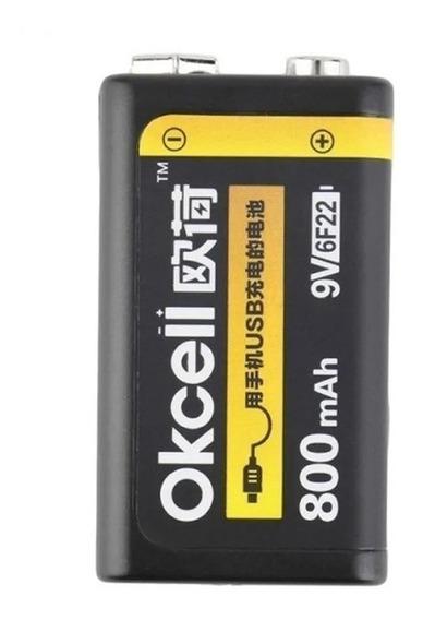 Bateria Lipo Recarregável Usb 9v Okcell 800 Mah