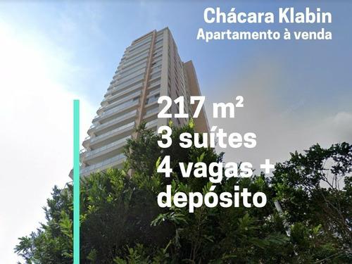 Imagem 1 de 26 de Apartamento No Klabin - 217 M², 3 Suítes, 4 Banheiros, 1 Lavabo,  4 Vagas E Depósito. No Contrapiso - 175