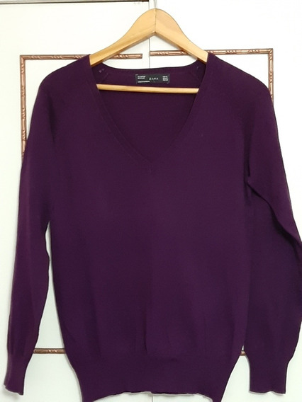 Sweater Escote V Mujer Zara Violeta