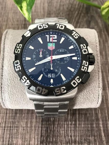 Relógio Masculino Tag F1 De Aço Fundo Preto