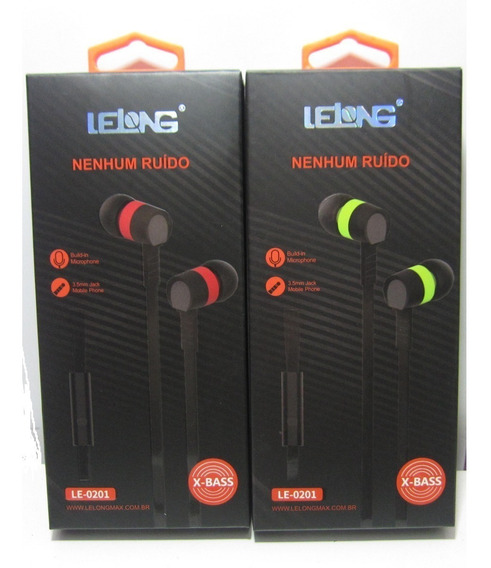 Kit 2 Fone De Ouvido Lelong C/ Microfone Sem Ruído