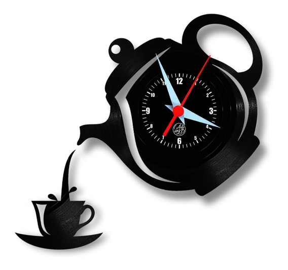 Xícara & Bule Relógio De Parede Cozinha Café Chá Vinil Disco