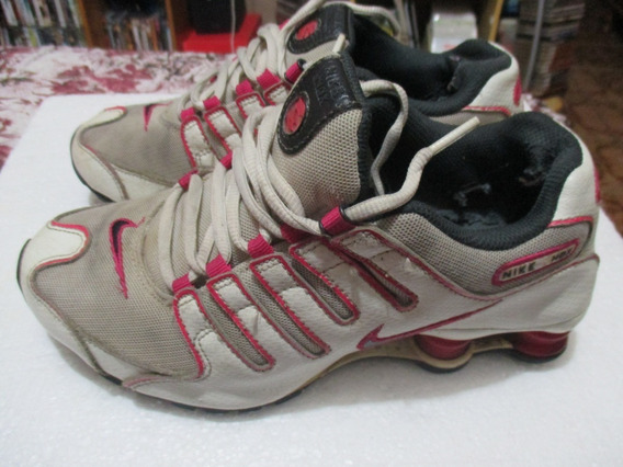 Tênis Nike Shox Feminino Usado Rasa Escura E Branco 37 E Us7