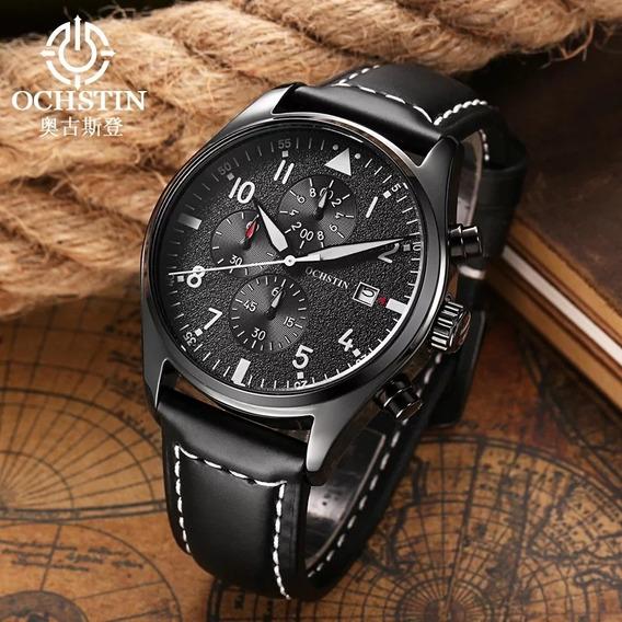 Relógio Masculino Ochstin Cronografico Pulseira De Couro