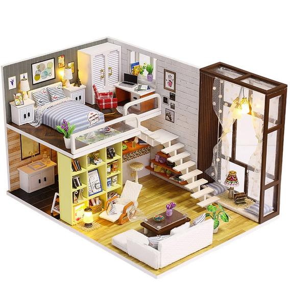 Montar Diy Boneca Casa Brinquedo De Madeira Miniatura Estojo
