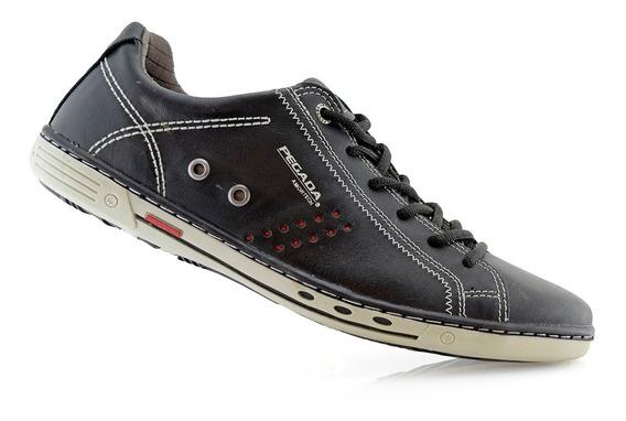 Zapatillas Hombres Cuero Negras 15501-10 Pegada Luminares