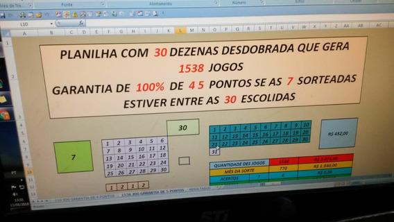Planilha Com 30 Dezenas Com Garantia De 100% 4 5 Pontos .