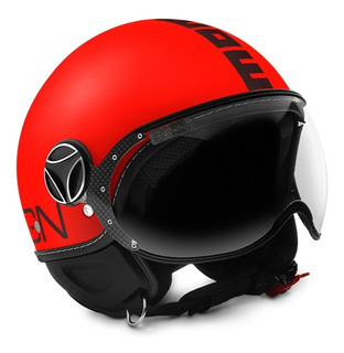 Casco Abierto Momo Fighter Classic Fluo Mate Rojo
