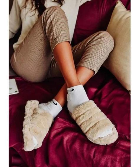 Pantuflas De Invierno Con Piel, Con Peluche, Mujer