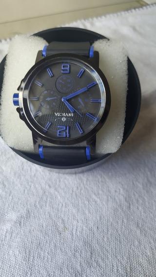 Relógio Masculino Pulseira Preta Com Detalhe Azul Promoção