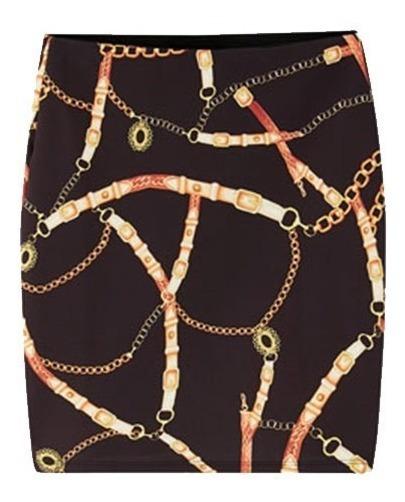 Mini Falda Negra Estampado Cadenas Mujer Fashion Antro