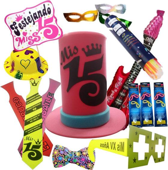 Combo Fiesta Xv Quince Años Sombreros Lentes Antifaz Kit Dj