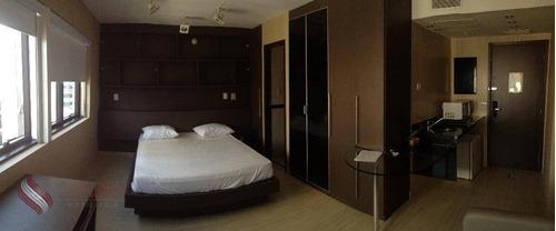 Lindo Flat Com 27m²  01 Dorm, 01 Vaga No Edifício Park-in Sonesta -  Av Ibirapuera -moema (l) - Fl0004