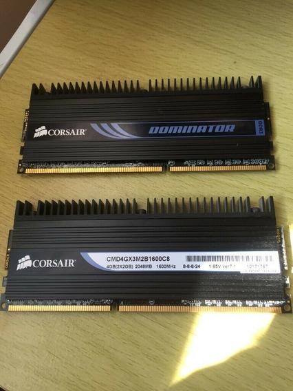 Memória Ram Ddr3 Corsair Dominator 2x2gb 1600mhz