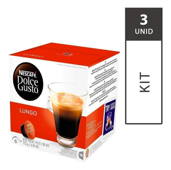 Kit 3 Cxs Cápsulas Dolce Gusto Caffé Lungo 16 Unid Cada